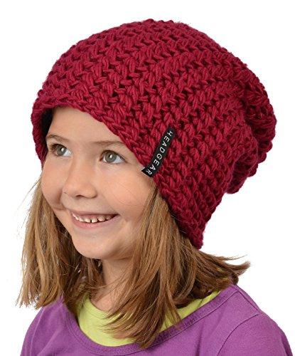 Stylische Oversize Häckelmütze für Mädchen : Mädchen Oversize Häkel Beanie Farbe: rot