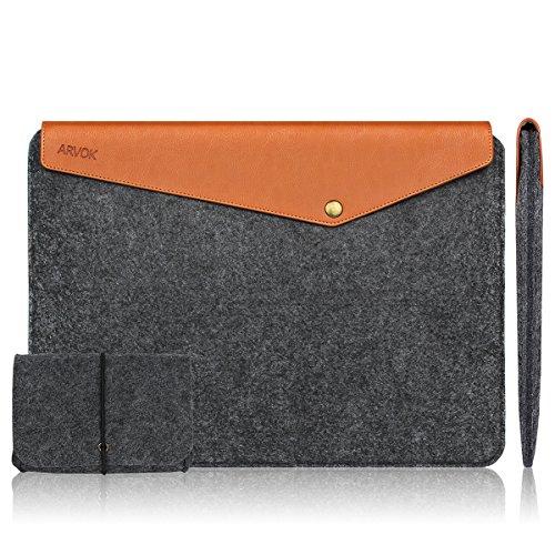 Arvok 11-12 Zoll MacBook Pro Vintage Envelope Dunkelgrau Laptophülle Notebooktasche Laptoptasche Filz & Leder Mit Extra Ladegerät Tasche Schutzhülle