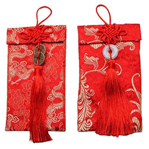 JETEHO 2 x rote chinesische Hongbao Umschläge für geschäftliche Anlässe, Einladungskarten, Hochzeit, Geburtstag, 2019 chinesische Neujahrsparty (Roter Umschlag Chinesisch)