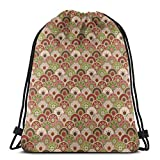 Jiger Drawstring Tote Bag Gym Bags Storage Backpack, Persian Arabesque Ethnic Lace Floral Traditional Folk Mandala Pattern,Very Strong Premium Quality Gym Bag for Adults & Children