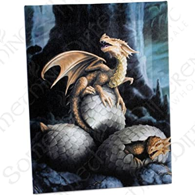 Golden Treasures -Gothic Golden Baby Dragons Hatching From Eggs - Fantastic Design by Artist Anne Stokes - Canvas Picture on Frame Wall Plaque / Wall Art - cheap UK light shop.