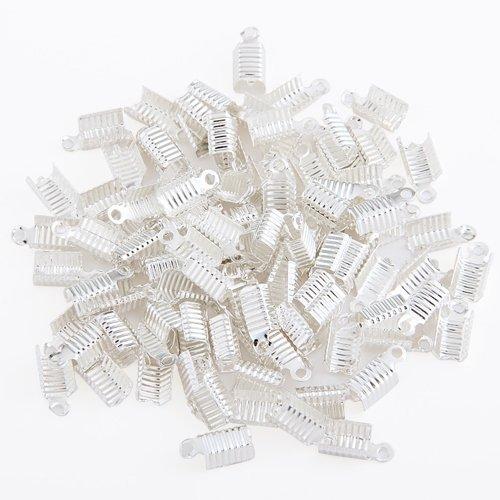 TOOGOO(R) 100 X collares de la joyeria de plata pulseras juntos una conexion encabezado hebilla de cierre 12x6mm
