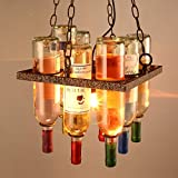 Lampada a sospensione a soffitto in vetro colorato vintage industriale Lampadario in vetro bottiglia di vino Lampada a sospensione retrò creativa Decorazione ristorante Cucina Isola Bar E27