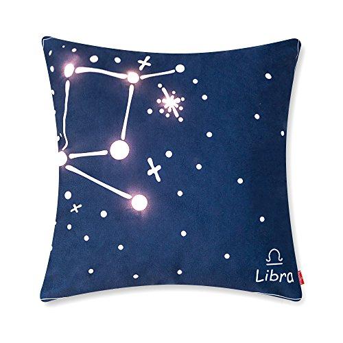 baibu Glühende 12 Konstellationen Horoskope Kissenhülle Dekorative Kissen Sterne LED Navy Blau Allerheiligen Kissenbezüge,45*45CM,Waage (Sterne-kissen Dekoratives)