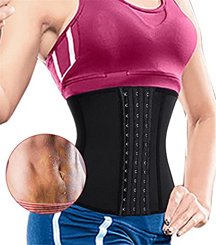 Gotoly Hot Sweat Waist Trainer Corset Neoprene Slimming Belt Tummy Body Shaper with 3 Hooks (S (UK Size 6-8), Black-Fat