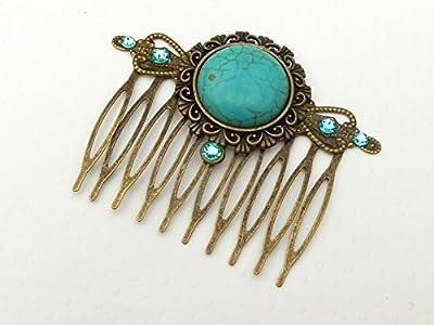 Peigne à cheveux avec cabochon turquoise