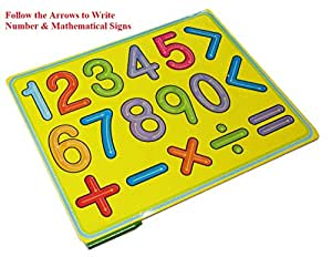 And-Generic 0-9 Numbers Mathematical Signs Writing Wooden Board With Guide-Toys For Kids Children Ages 3+