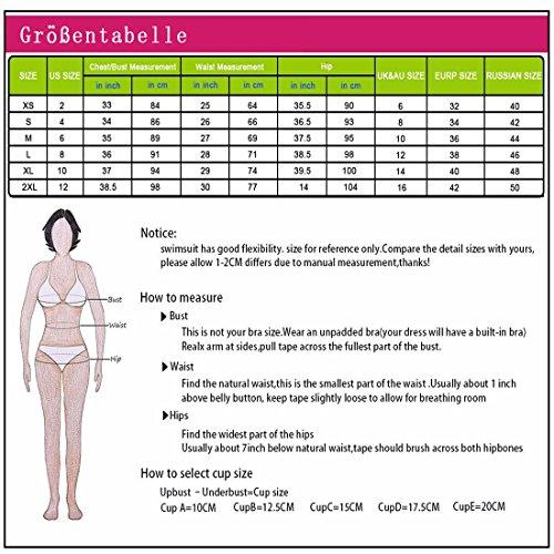 Damen Retro Badeanzug Bademode Bikini Set, schwarz,3XL - 5