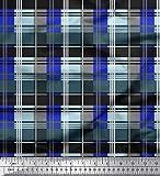 Soimoi Blau Seide Stoff prüfen prufen Stoff Meterware 42