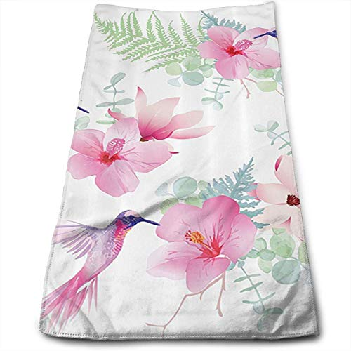 Wodann Tropical Flowers and Hummingbirds Are Wild Microfiber Towel (30-Inch-by-70-Inch) Ultra Absorbent Travel Towels Fast Drying Sports Towel Gym Towels- Bath Sheet Towel Hummingbird Fish