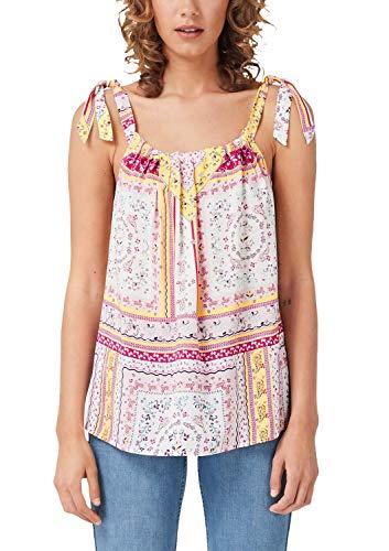 s.Oliver RED LABEL Damen Blusentop mit Paisley-Muster Creme AOP floral Print 38 - Creme Paisley Shirt