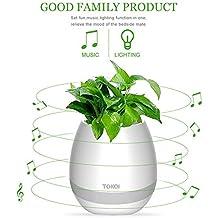 VOUMEY Indoor planta pot ,Musical maceta , música planta lámpara Led táctil de maceta Smart – Altavoz Bluetooth inalámbrico con Piano, Música macetas, luz nocturna para dormitorio, oficina.