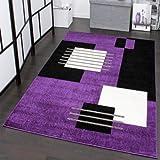 tapis de crateur motif carreaux en violet noir blanc - Tapis Moderne Violet