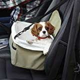 LOHUA Deluxe Portable Pet Dog Car Booster Seat with Seat Belt car basket,dog kennel , White