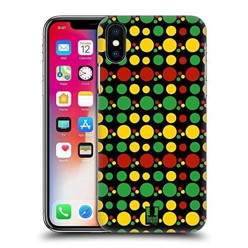 Head Case Designs Azteco Pattern Rasta Colorati Cover Retro Rigida per Apple iPhone X Cerchio