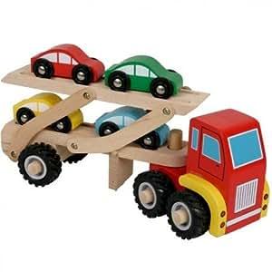 Nct - Camion en bois de transport de voitures Jouet en bois Enfants 3 ans +