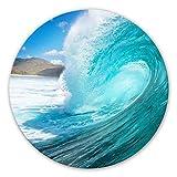 Glasbild Welle rund Meer Surfen Ozean Natur Wasser Bad Wall-Art - Ø 50 cm