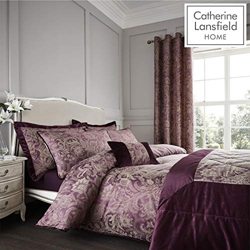Catherine Lansfield Regal Jacquard King Duvet Set Plum Best Price and Cheapest