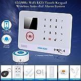 OWSOO Wireless Wifi Alarm Sicherheitssystem Wasser Tür Sensor LCD Display Verdrahtet Sirene & Wireless Siren Kit Telefon App Fernbedienung Home Einbrecher Alarm Sicherheit