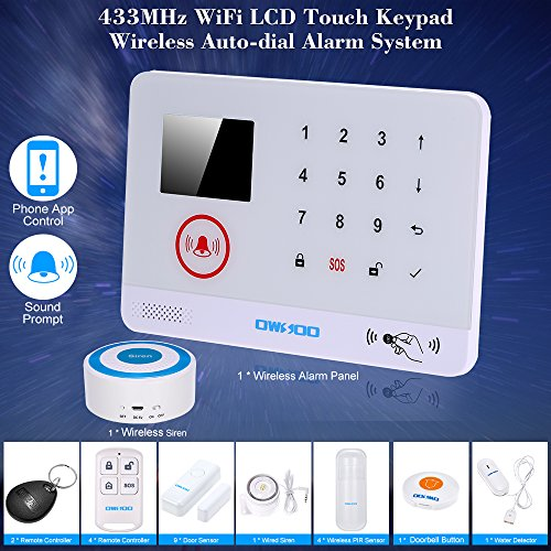 OWSOO Wireless Wifi Alarm Sicherheitssystem Wasser Tür Sensor LCD Display Verdrahtet Sirene & Wireless Siren Kit Telefon App Fernbedienung Home Einbrecher Alarm Sicherheit (Home-alarm Wireless)
