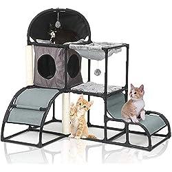 Árbol para Gato , Árbol Rascador Escalador para Gatos,Nuevo cuadro de escalada multifuncional para gatos 5 en 1, gris
