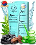 MeMe Carbonated Bubble Clay Mask 4oz. - Korean Face Skin care - Activated Charcoal & Bentonite prevent acne & detox - Organic Jojoba Oil, Aloe Vera & Witch Hazel - Blackhead Remover - Deep Cleansing