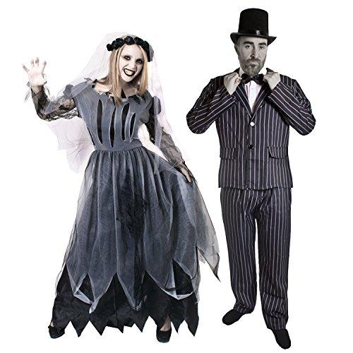 ILOVEFANCYDRESS Paar Zombie Geister KOSTÜM VERKLEIDUNG=Braut & BRÄUTIGAM=Anzug+Fliege+Zylinder+Frauen SCHWARZES HOCHZEITSKLEID+Schleier=MÄNNER-XLarge & (Paar Kostüm Frauen)
