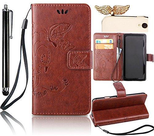 Sunroyal ® Funda para iPod Touch 5/Touch 6 Cuero PU Leather Case Flip Piel Tipo Libro Mariposa Carcasa Cover Cierra Magnético con Función Soporte Ranuras para la Tarjeta de Débito Crédito de Piel de la PU Cubierta Billetera Caso
