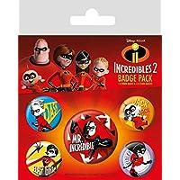 Los Increíbles - 2, Family, 1 X 38mm & 4 X 25mm Badges Set De Chapas (15 x 10cm)