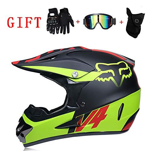 AA100 Motocross-Helm, Handschuhe Brille Maske D.O.T Standard-Kinderquad Fahrrad ATV Kart-Helm (s, M,...