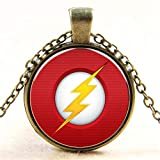 Men's necklace Hot Sale Comic Lightning Telecommunications Glass Icon Crystal Pendant Necklace Vintage Women Men Gift Jewelery