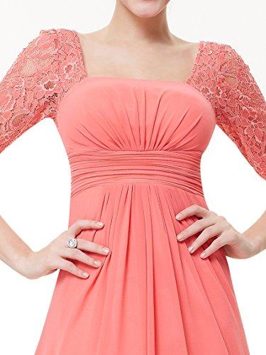 Ever Pretty Robe de Soiree en Demi-manches Dentelle 08038 Corail rouge