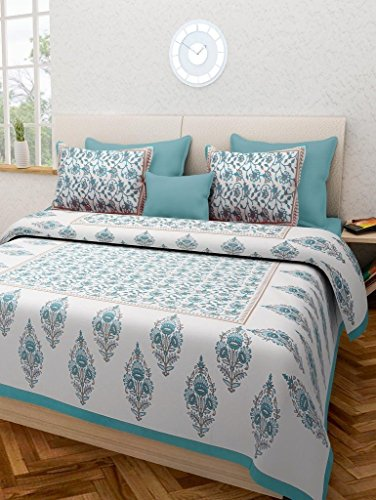 Ealth Kart 144 TC 100% Cotton Rajasthani Jaipuri Double Bedsheet with 2 Pillow Covers - Green