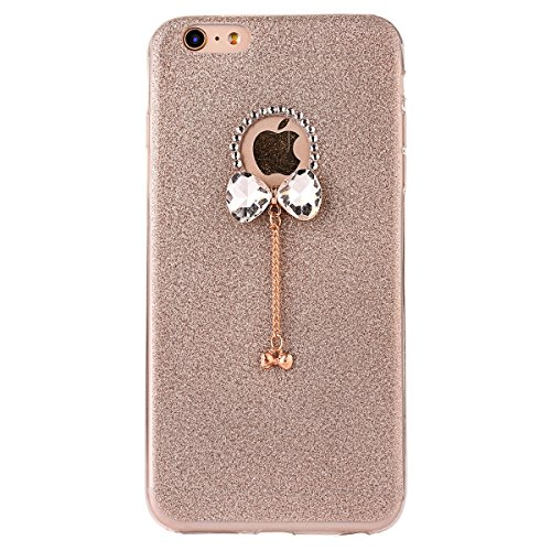 Clear Crystal Rubber Protettivo Case Skin per Apple iPhone 5/5s/SE, CLTPY Moda Brillantini Glitter Sparkle Lustro Progettare Protezione Ultra Sottile Leggero Cover per iPhone 5, iPhone 5s, iPhone SE + Oro