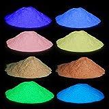 Pigmento de color azul fluorescente que brilla en la oscuridad, polvos de pintura, bolsa de 10 gramos, 8 colores