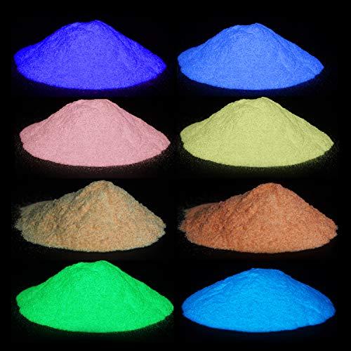Wtrcsv Epoxidharz Leuchtpulver 80g(8 Farben×10g), Fluoreszierendes Pulver, Epoxid Harz Epoxy Resin Farbe Pigment Pigmente, Selbstleuchtend Nachtleuchtend Neon Pulver Farbpulver