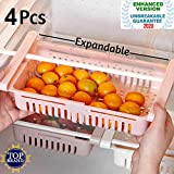 KOUZZINA 4 Pcs Expandable Adjustable Fridge Storage Basket Under Shelf Fridge Organiser Rack Space Saver Refrigerator Sliding Drawers - Unbreakable, Random Colours.( pack of - 4)