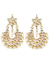 Geode Delight Gold Plated Wedding Jewelry Pearl Earring Set For Women & Girls