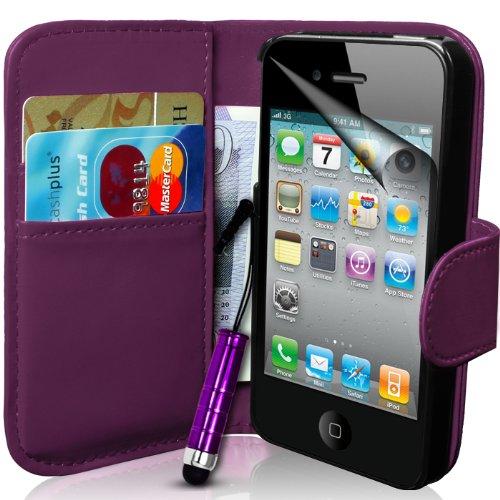 Generic Buch-Stil Imitat Leder Hülle mit Eingabestift, Schutzfolie für Apple iPhone 4S/4 lila