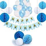 NextDeko Happy Birthday Geburtstagsdeko Blau Weiß - Hochwertige Geburtstag Deko Set Jungen Männer - Kindergeburtstag Party Dekoration Zubehör Blue - Girlande Wabenbälle Geperlte Ballons