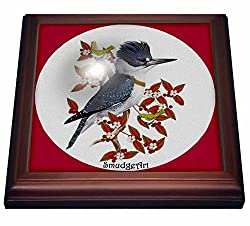3dRose trv_7221_1 Belted Kingfisher Trivet with Ceramic Tile, 8 by 8, Brown