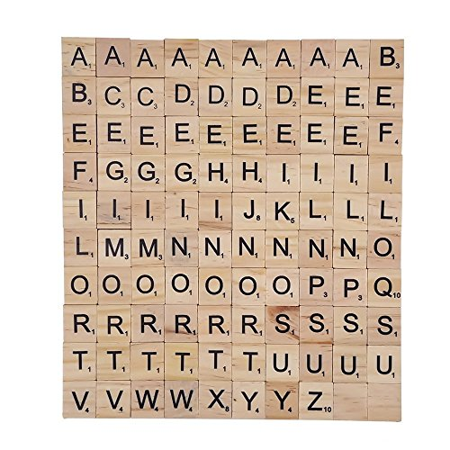 TILY Wooden Scrabble Tiles Full Set Of 100 Scrabble Letters for Crafts Board Games Jewellery Making Kit