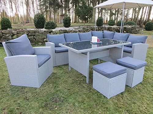 Mandalika Garden Hohe Dinning Poly Rattan Lounge inkl. Einem Sessel und Zwei Hocker New Milos XL Rechts Grau auch spiegelverkehrt nutzbar