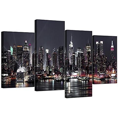 Cuadros en Lienzo de Nueva York Skyline para tu salón–4Panel Cityscape