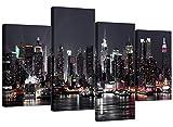 Wallfillers Leinwand-Bilder von der New-Yorker Skyline für Ihr Wohnzimmer–Modernes geteiltes Bilder-Set mit 4 Leinwänden–XL–130cm breit
