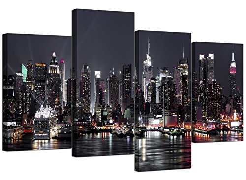 Wallfillers foto dello skyline di new york, su tela, per salotto - set multipannello con 4 tele - xl - 130 cm di larghezza