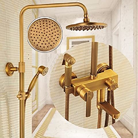 Ohcde Dheark All Copper Antique Shower Set, Bath Shower, Booster Washing Gun, Four File Washer,A