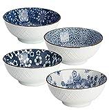 Y YHY - Set di 4 ciotole giapponesi in ceramica per cereali, zuppa, insalata, 473 ml, 4 design assortiti, colori: Blu e Bianchi.