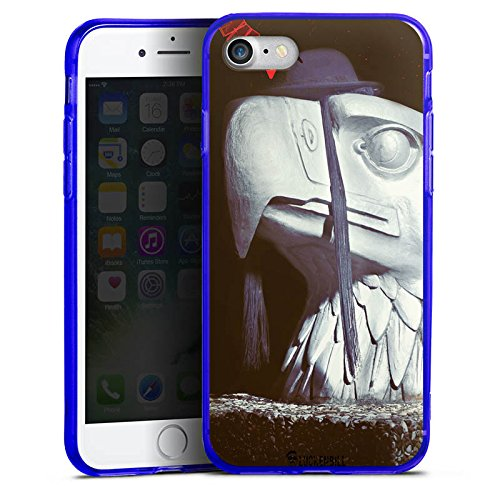 Apple iPhone 8 Silikon Hülle Case Schutzhülle Roboter Statue Adler Silikon Colour Case blau