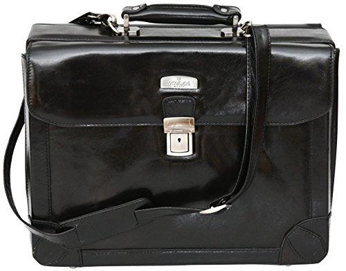 S Babila - Aktenkoffer aus Vollleder - Business-Koffer für Laptops - Schwarz Schwarz